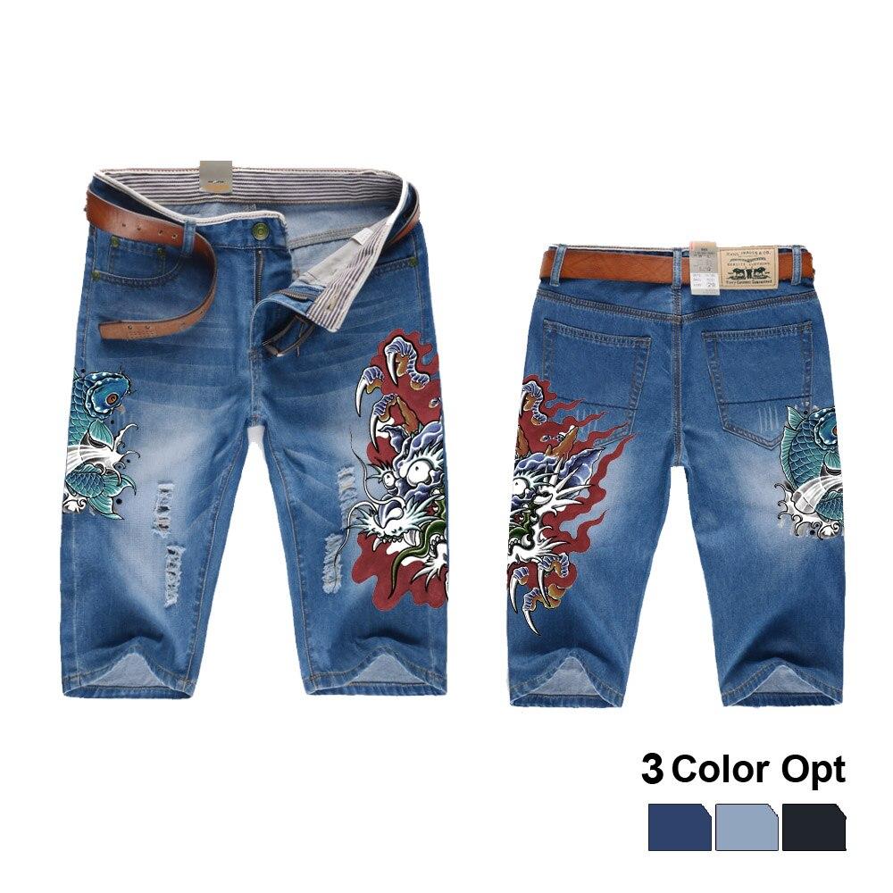 817fd88e Cheap Los hombres corta Jeans agujero RIP Retro destruir Denim recto  pantalones imprimir diseño playa Hip