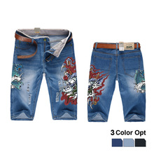 Men Boy Short Jeans Skinny Hole Ripped Retro Destroy Denim Straigh Trousers Print Design Beach Hip Hop Skate Pants Fish Dragon шапка fish n destroy