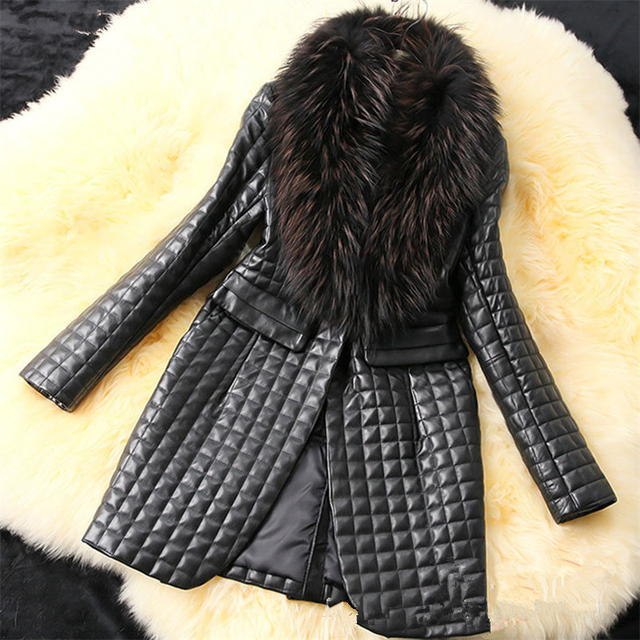 long Slim Ladies Black PU Fur Leather #Jacket Autumn Winter Office Ladies Artificial Fox #Fur #Coat #fashion #fauxfur #boygrl 3