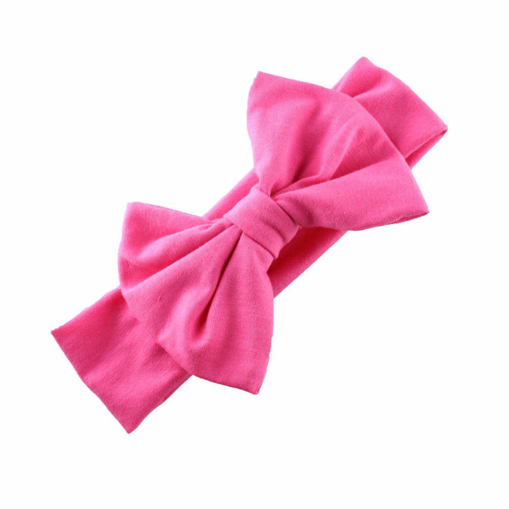 e7eb2fe0be775 Cute Girls Solid Cotton Hair ribbon Bow Headband Handmade Stretch Headwraps  With Bow Boutique hair accessories