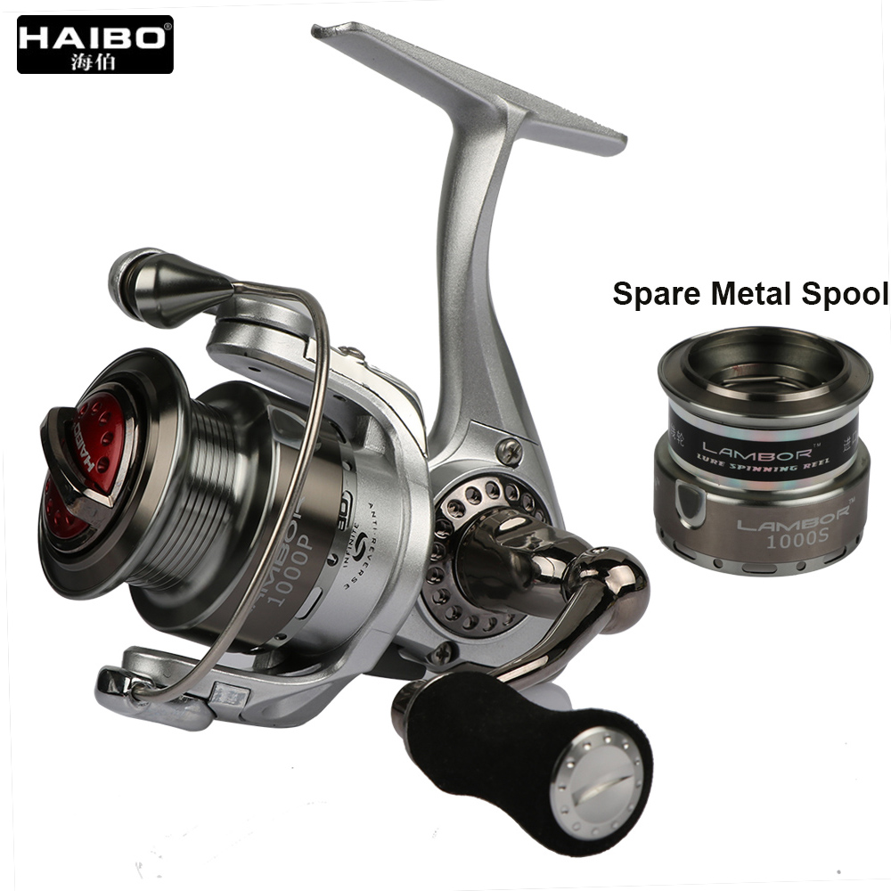 HAIBO Brand LAMBOR Lure Fishing Reel 10S 20S Metal Spinning Fishing Reel with Spare Spool Max Drag 6.5kg 5.2:1 Sea Coil