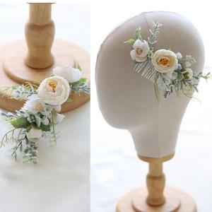 Boho weselny akcesoria do włosów leśna kwiatowa do włosów grzebień ślubny nakrycia głowy Handmade biżuteria ślubna chluba korona kobiety HD11