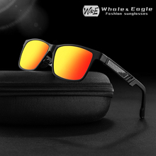 W&E sunglasses mens polarized Aluminum-Magnesium Rectangular Wrap driving UV400 Ladies fashion trend cool