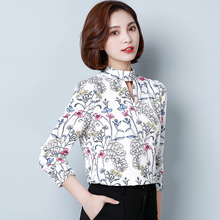 Fashion Female Printing Blouse Sexy Long Sleeve Shirt White Modis Femme Tops 2019 Spring Women Stand Neck Hollow Chemise