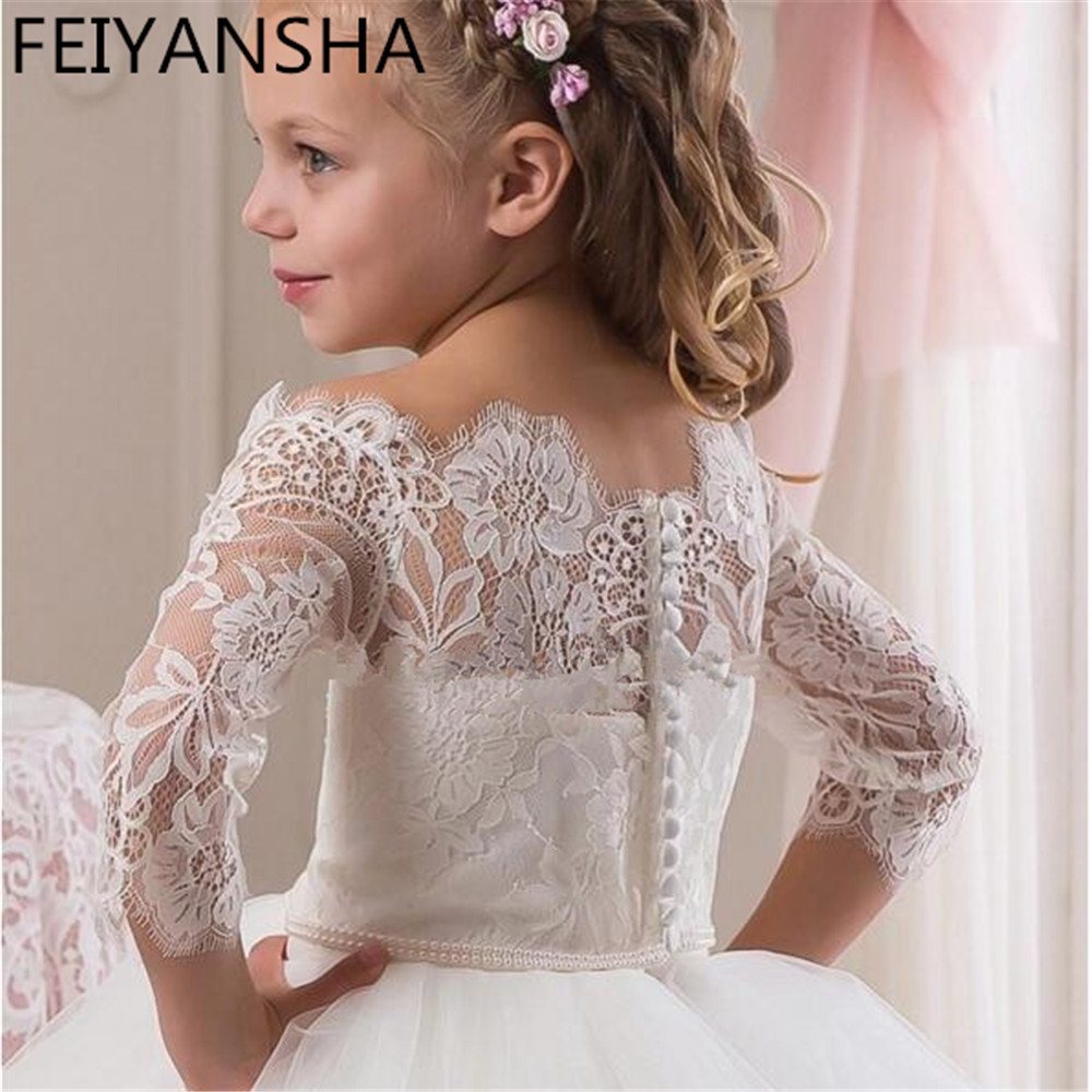 Princess 2019 White Off Shoulder Flower Girl Dresses for Wedding Lace Long Sleeves Girls Birthday Gown First Communion Dress