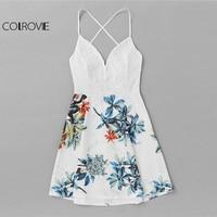 COLROVIE Criss Cross Back Lace Panel Tropical Print Dress Women Spaghetti Strap V Neck Sleeveless Dress
