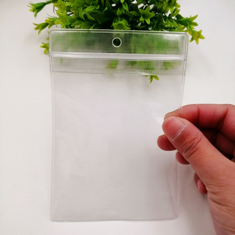 Hook Clear Pvc Plastic Bag 100pcs/Lot Reclosable Transparent Plastic Bag Gift Bags For Jewelry Self Seal Zip Lock Bags Plastic