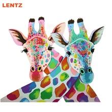 Giraff Absztrakt Állati DIY festés számok Kézzel festett olajfestmény Lakás fal dekoráció Könnyű Gyermekképek gyerekeknek 2.0