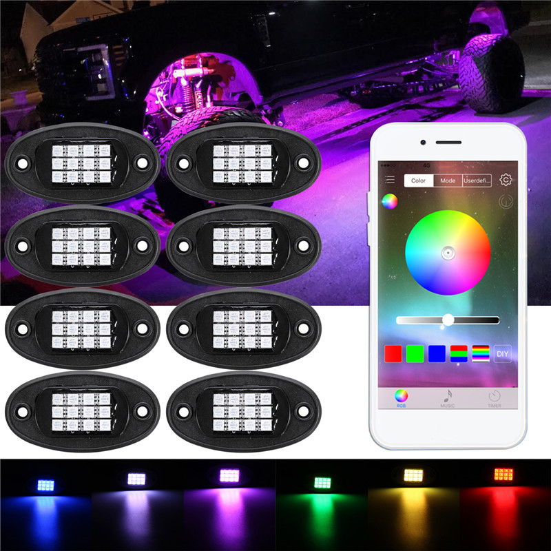 8Pcs Auto LED Rock Light Under Body Light RGB Car Atmosphere Lamp APP Phone Control Car Under Lamp