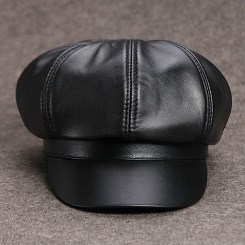 Winter Hat For Women's Warm Leather Baseball Caps Simple Fashion Brand Female Hats Painter Tongue Cap Sheepskin Black Youth Hat aorice winter genuine sheepskin leather hat brand new men s warm earmuffs hat man baseball caps leisure fashion brand hats hl030