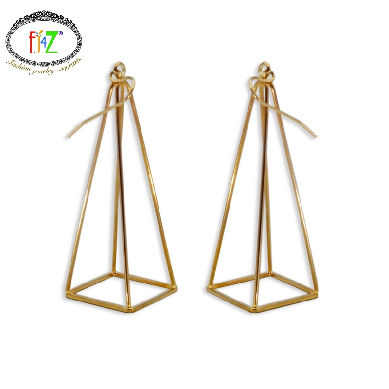 US $2 99 |2016 New arrival cool 3D Earrings Fashion Punk Unique Simplicity  Copper pyramid Drop Earring For Women Brincos Grandes-in Drop Earrings from
