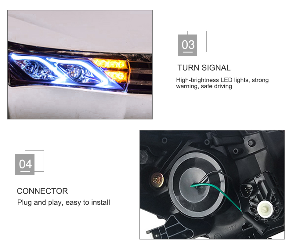 AcooSun LED Car Headlight Assembly For Toyota Corolla 2014 2015 DRL Turn Signal Lights Projector Lens Plug and Play Head Light (9)