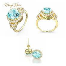 Wong Chuva 925 Sterling Silver Gemstone Aquamarine Ouro Amarelo Brincos Ear Studs Anel Fine Jewelry Set Atacado Drop Shipping(China)