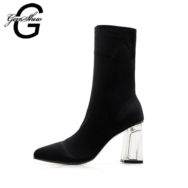 GENSHUO Women Mid Calf Boots Round Toe Crystal Heel Transparent Women Boots Clear High Heels Summer Shoes Big Size 41 42
