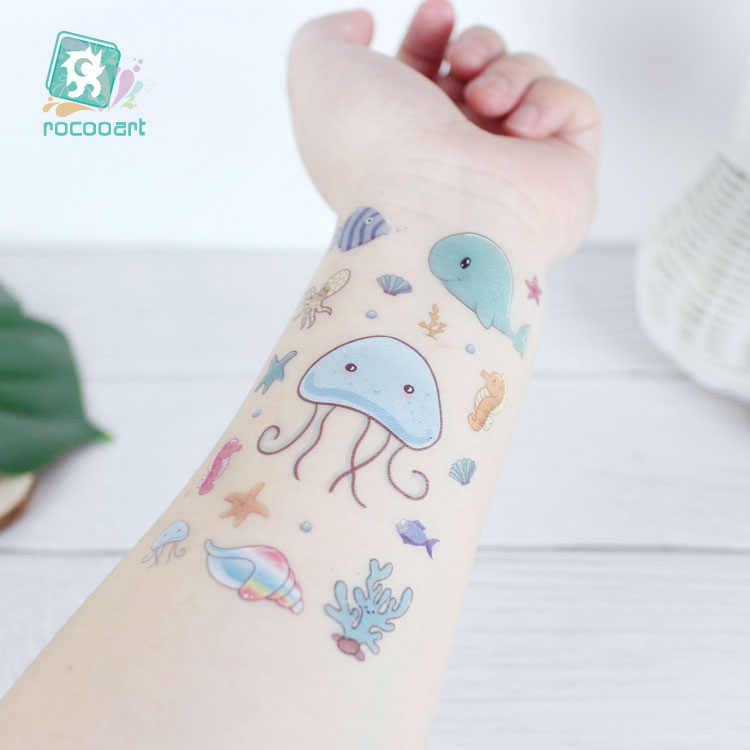 Tatuaje de ballena de dibujos animados para niños, tatuaje falso de Animal en el océano, arte corporal a prueba de agua para niños, tatuaje temporal, tatuaje de estilo marino azul