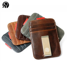 Men money clips vintage genuine leather front pocket clamp for holder removable clip wallet with card ID Case