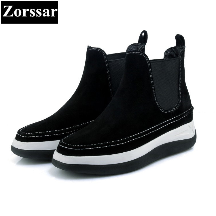 {Zorssar} 2017 NEW High Quality cow suede Womens boots Casual ankle flat Boots fashion Autumn winter women platform boots the new high quality imported green cowboy training cow matador thrilling backdrop of competitive entrance papeles