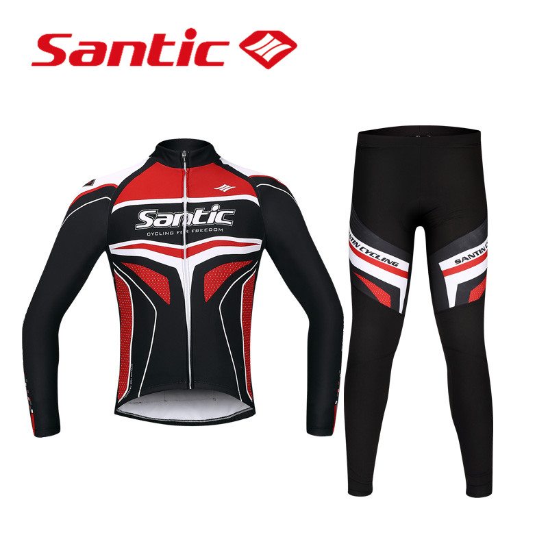 ФОТО Santic Spring Long Sleeve Cycling Jersey Set Road Bike Clothing Cycling Suits Men Cycling Long Sleeve Set Sets WSM143F1001R
