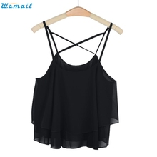 womail ly design women hot beach short vest ruffle chiffon tank tops camis 160303