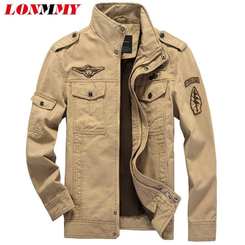 LONMMY Jaket musim sejuk lelaki kot lelaki kapas Velvet tebal 2019 Jaket bomber lelaki jaket Tentera Jenama Jaket kulit lelaki M-6XL