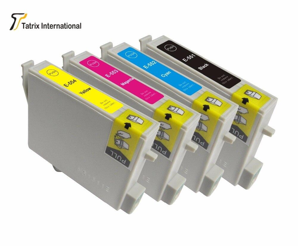 4 color 10 pieces T551-554 ink <font><b>cartridge</b></font> for epson Stylus <font><b>Photo</b></font> <font><b>inkjet</b></font> <font><b>cartridges</b></font> RX420 RX425 RX520 R240 R245