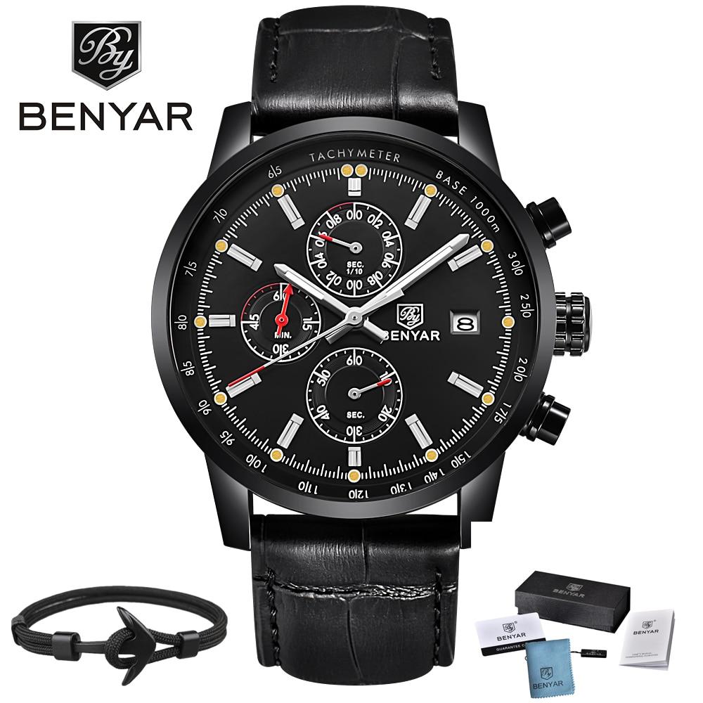 все цены на Top Explosion BENYAR Fashion Casual Mens Watches Luxury Brand Leather Chronograph Waterproof Quartz Watch Men Relogio Masculino онлайн