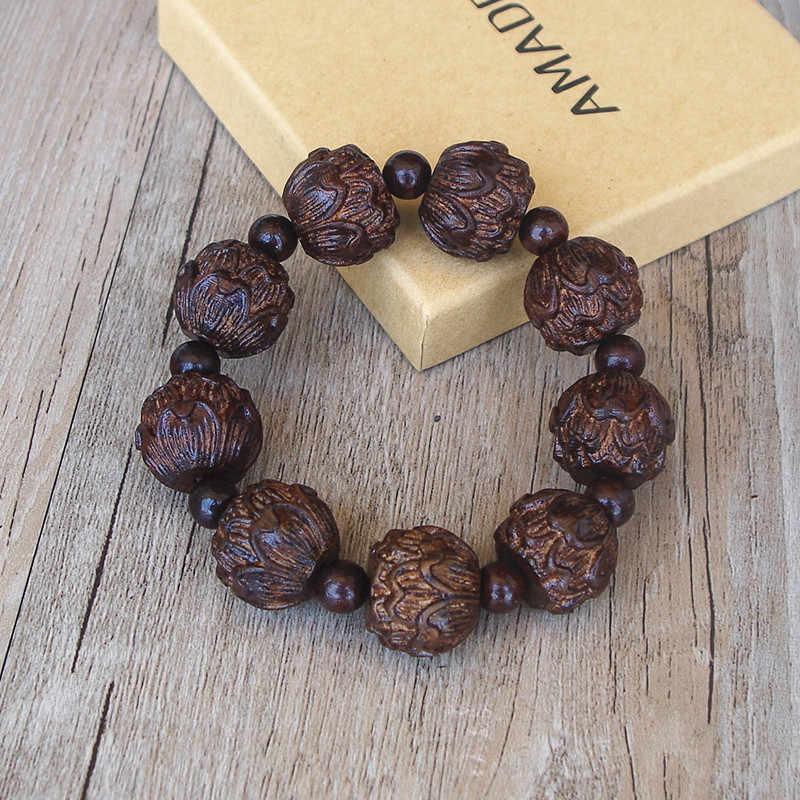 18MM męska tybetański budda czarny drewno Carve bransoletka lotos uzdrowienie mala modlitwa Chakra Strand bransoletka biżuteria na szczęście