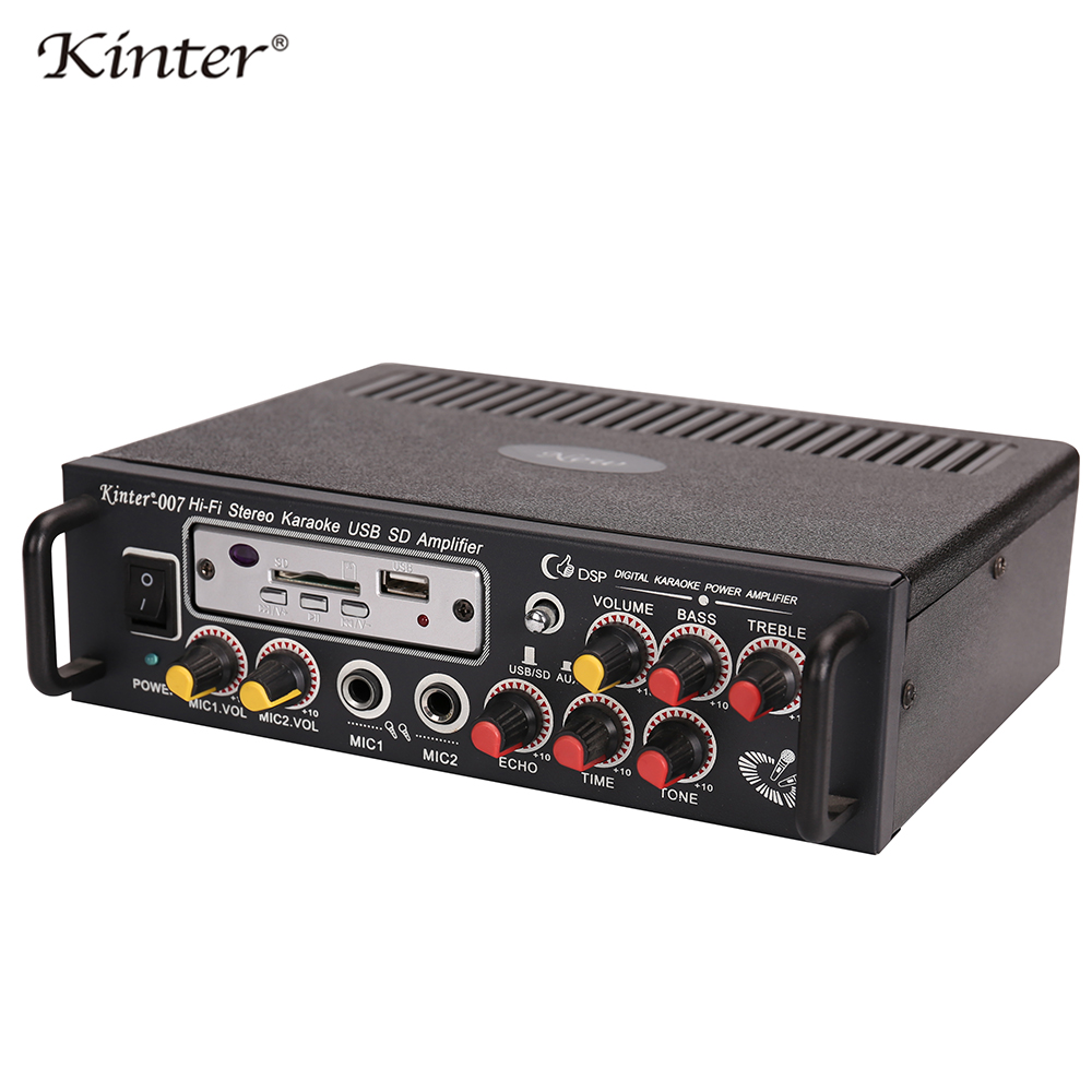 Kinter-007 Audio amplifier hi-fi stereo sound with USB SD MIC input bass treble ECHO TONE control supply power 220V in home цена