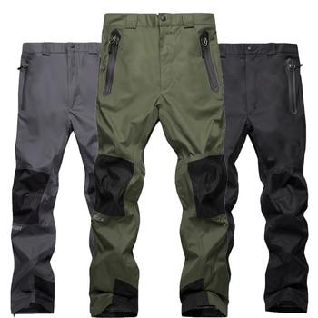Двухслойные флисовые Мужские штаны для сноуборда Autumu и зимняя уличная  спортивная одежда походные брюки ветрозащитные непромокаемые 14b5b623c23