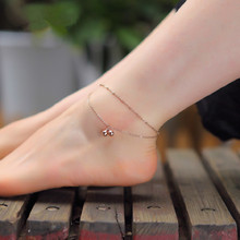 18k Rose Gold double Anklet Titanium Steel Barefoot bells Anklet Bracelet Foot Jewelry Fashion Femininas Leg