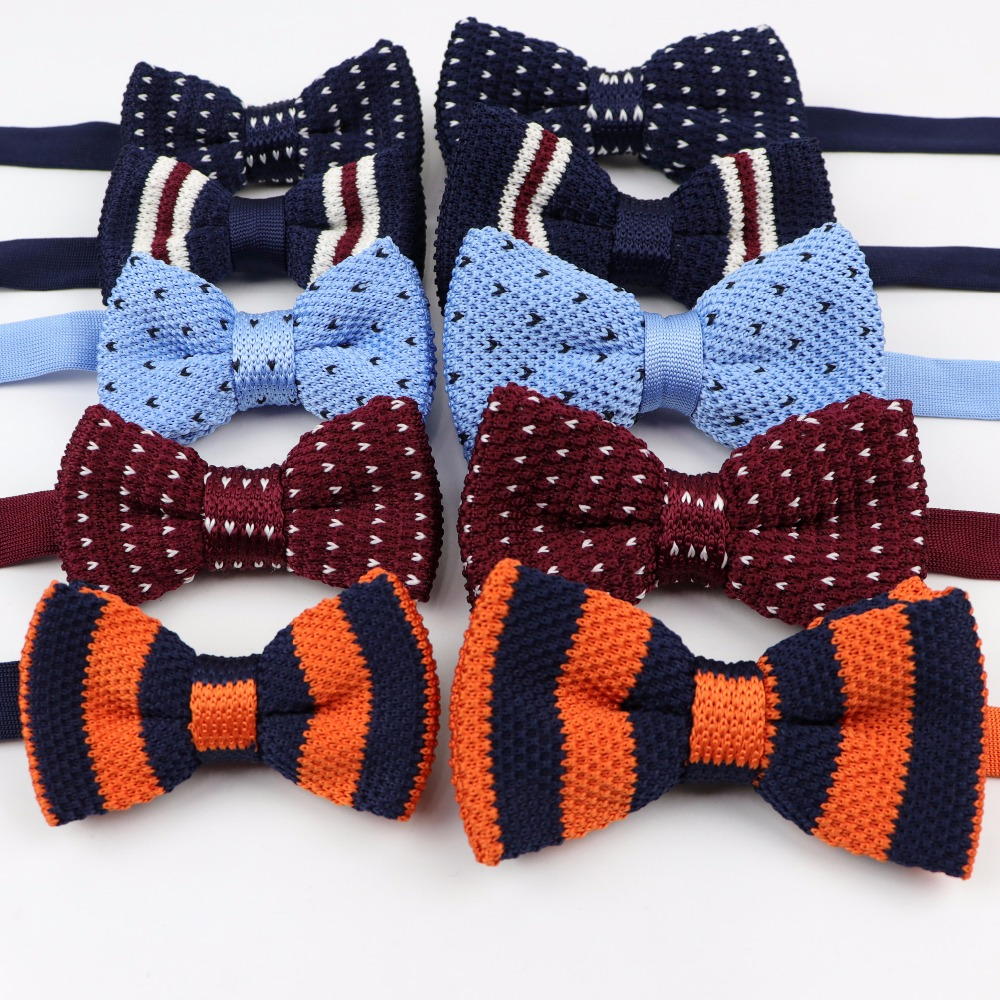 378feeeeb2007 Striped Dot Plaid Children Knitted Bowtie Stylish Men Party Business  Wedding Butterfly Fashion Bow Tie Accessories Gift-in Ties   Handkerchiefs  from Men s ...