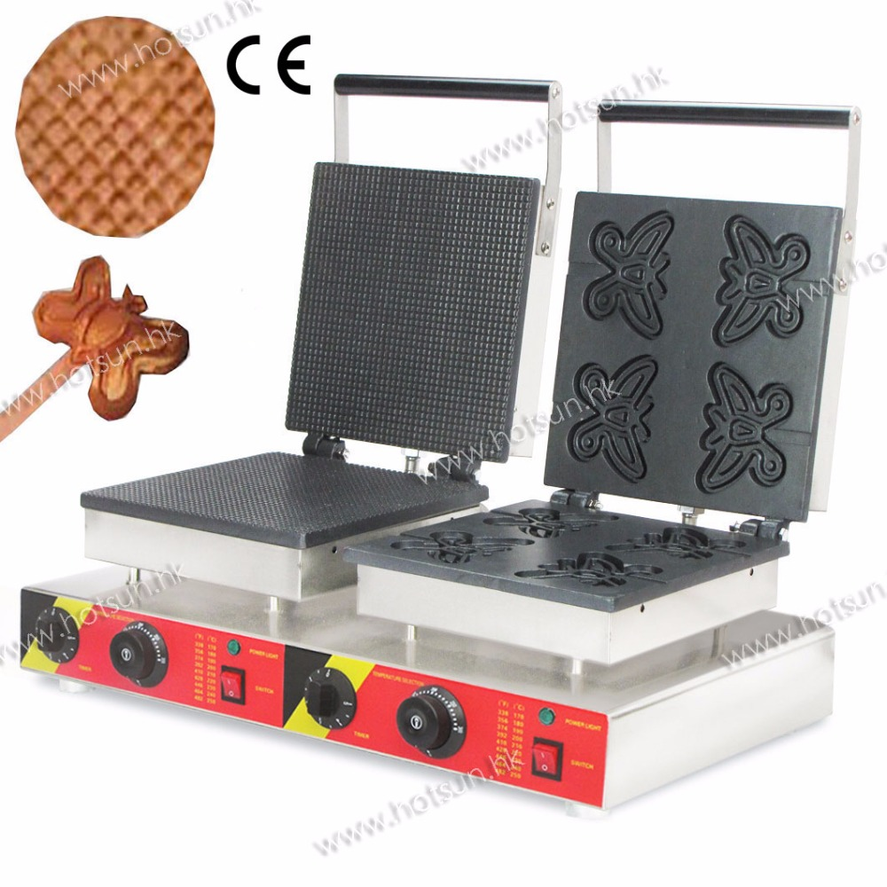2 in 1 Baking System Commercial  Non-stick 110V 220V Electric Ice Cream Corn Waffle  Butterfly Lolly Waffle Maker Machine Baker 220v commercial double head electric lolly waffle round muffin waffle maker machine non stick churro pancake baking machine