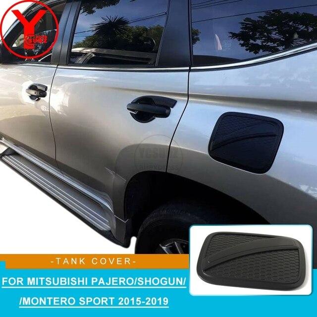 YCSUNZ black fuel tank covers stickers For MITSUBISHI PAJERO SPORT Shogun 2016 2017 2018 2019 ABS accessories For montero sport