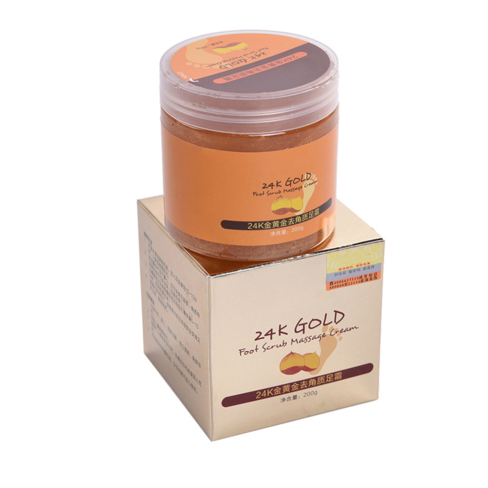 24K Gold Smooth Foot Cream Scrub Whitening Massage Lotion Foot Care Moisturizing Exfoliating Dead Skin Removal Foot Skin Care