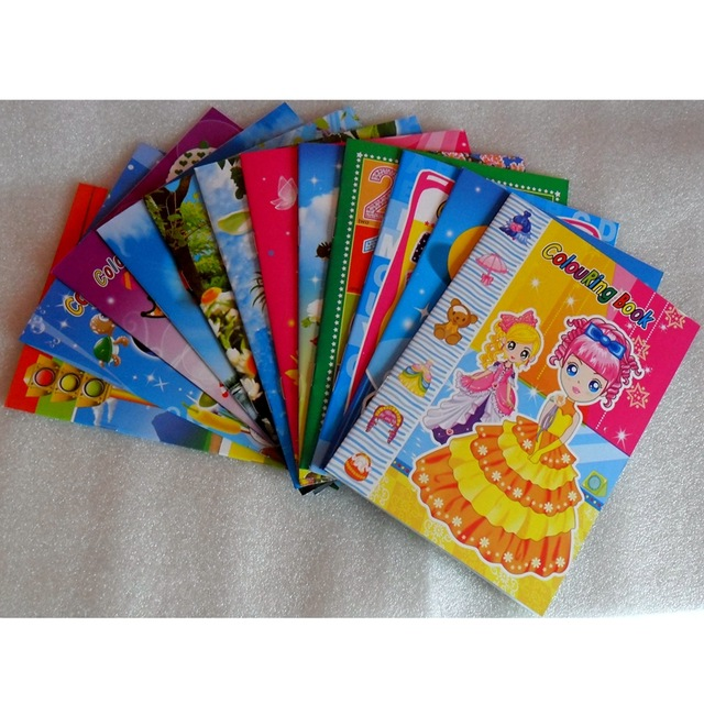 US $6.49 6% OFF|12PCS/LOT ColouRing & sticker Book Children cartoons Graph  color books 12 Types set coloring book sticker book wholesale-in Drawing ...