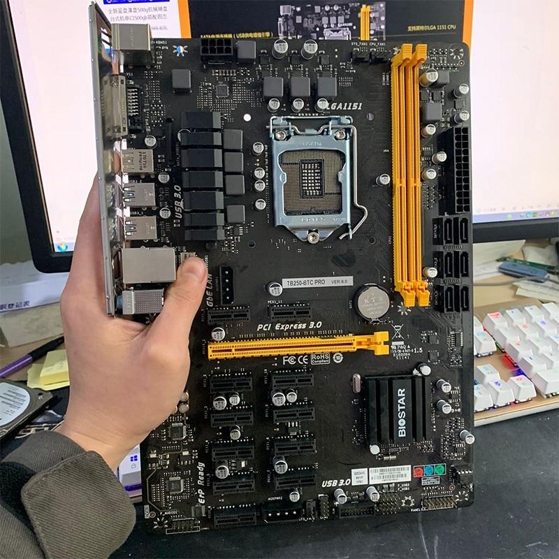 Mining motherboard for BIOSTAR TB250 BTC PRO DDR4 LGA 1151 32GB 6 PCI E 6A + 6N card Desktop Motherboard