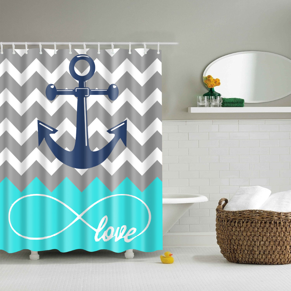 Anchor bathroom decor - Simple Anchors Shower Curtains Waterproof Bathroom Curtains Polyester 180x180cm Decoration With Hooks China Mainland