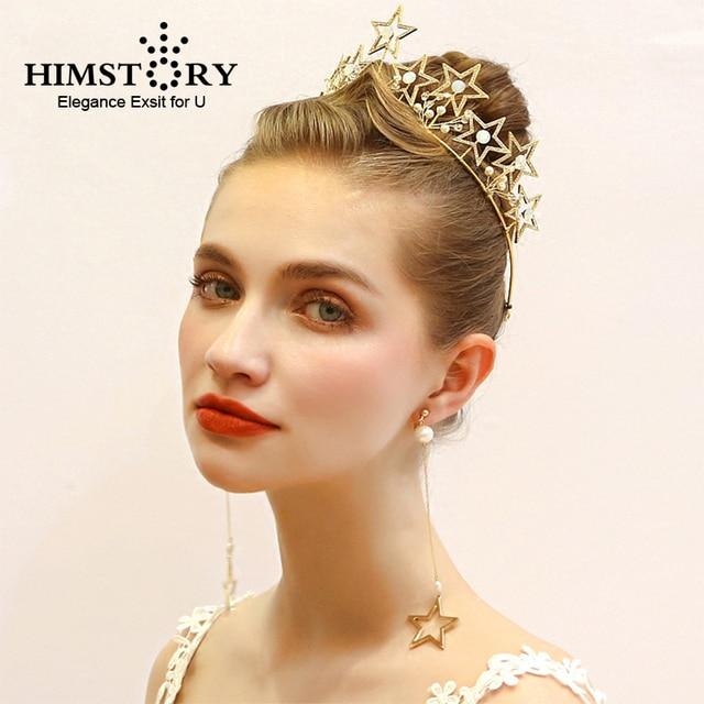 HIMSTORY Charming Gold Star Crown Earring Crystal Rhinestones Bridal  Wedding Hair Fascinator Hair Accessory 44034fc9fcf