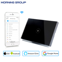 Wifi Smart Wall Touch Switch US Standard 1 Gang Black Glass Panel APP Remote Control For