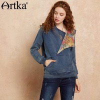 Artka Autumn Hoodies Women Denim Sweatshirts 2018 Patchwork Female Hoodie Oversized Hooded Sweatshirt Pullover Hoodies SN10576Q