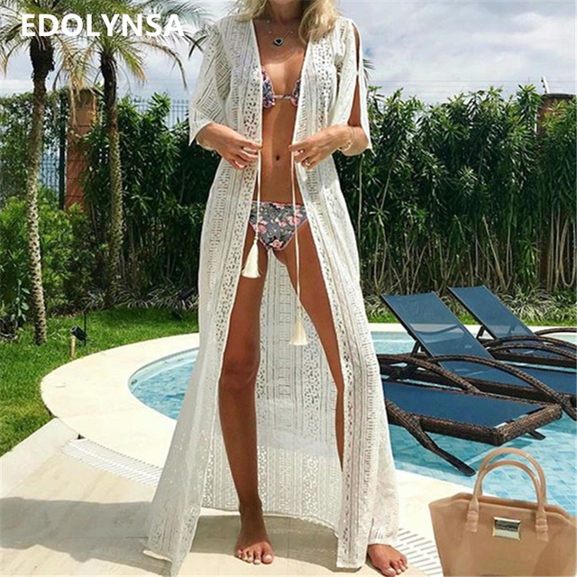 7540160bd84ab Lace Beach Cover up Sarong Beach Wrap Pareos Para Playa 2019 Swimwear Cover  up Women Robe Plage Beach Kaftan Beach Dress #Q505