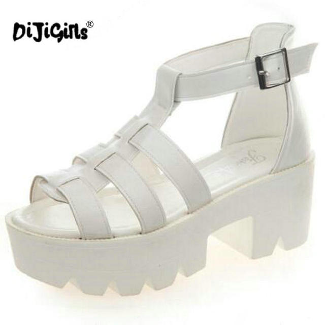 dda6d19efc3 DIJIGIRLS Fashion Summer Women Shoes Open Toe Black Leather Peep Toe  Platform High Heel Gladiator Sandals Chunky free shipping