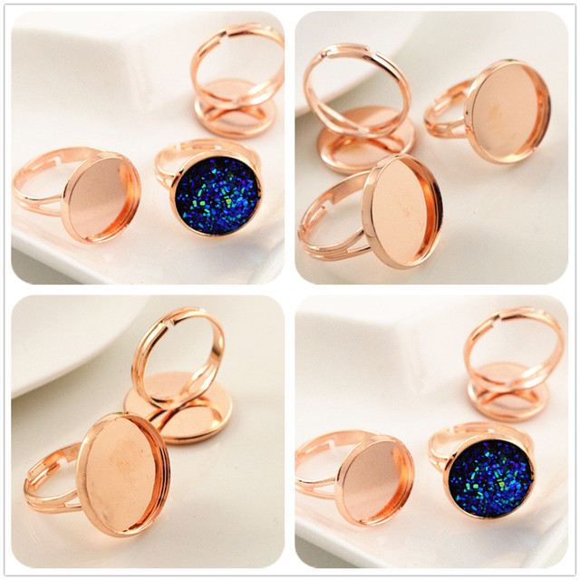 14mm 16mm 18mm 10pcs Rose Gold Plated Br Adjule Ring Settings Blank Base