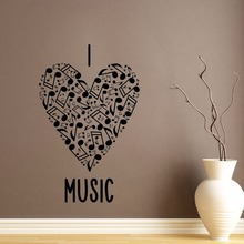 Art  Wall Sticker I Love Music Wall Decoration Vinyl Art Removeable Room Decor Heart Notes Decal Poster Beauty Mural LY87 wall sticker how can i say i love you quotes decoration for livingroom bedroom poster vinyl art removeable mural ly609