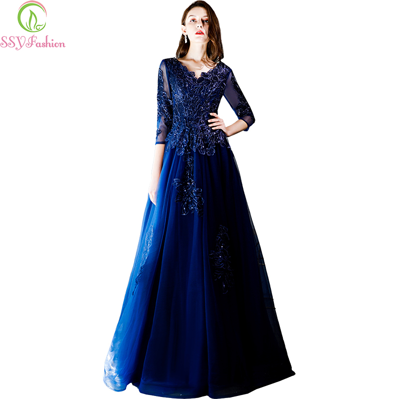 SSYFashion New Long   Evening     Dress   V-neck Navy Blue Lace Appliques 3/4 Sleeves Floor-length Banquet Elegant Party Formal Gowns