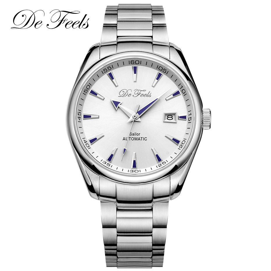 De Feels Business Men Sapphire Automatic Watch Classic Mechanical Watches Male Stainless Steel Clock Wristwatches Relojes