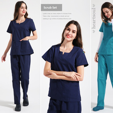 Dental Beauty Pets Hospital Woman Doctor Short Sleeve Surgical Uniform Isolation Scrub Set,Nurse Medical Split Suit Set,ZK12