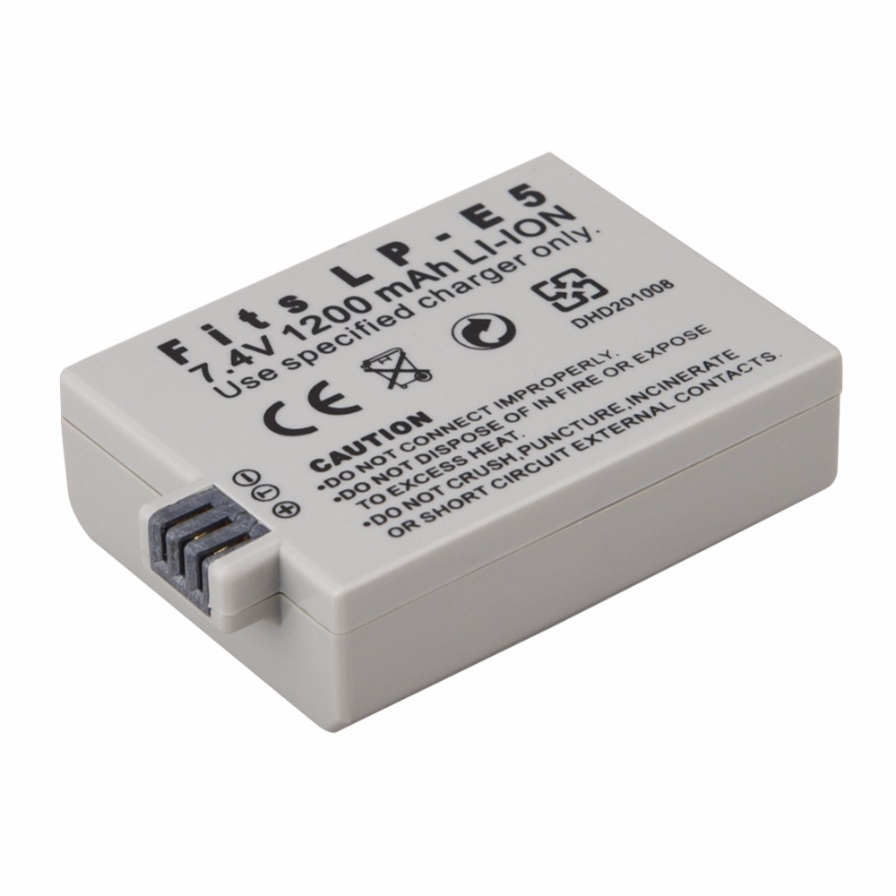 1Pcs 1200mAh 7.4V LP-E5 LPE5 LP E5 Rechargeable Camera Battery For Canon EOS 450D 500D 1000D Kiss X3 Kiss F Rebel Xsi