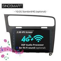 SINOSMART 2.5D IPS Screen Car GPS Navigation for Volkswagen Golf 7 2013 2018 1G/2G/4G Optional Support OBD 2 Bluetooth