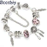 Boosbiy corazón mariposa cuentas marca Pulseras joyería Europea dije plateado a la moda Pulseras para mujeres niños regalo